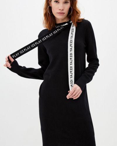 Трикотажное вязаное черное платье Ice Play