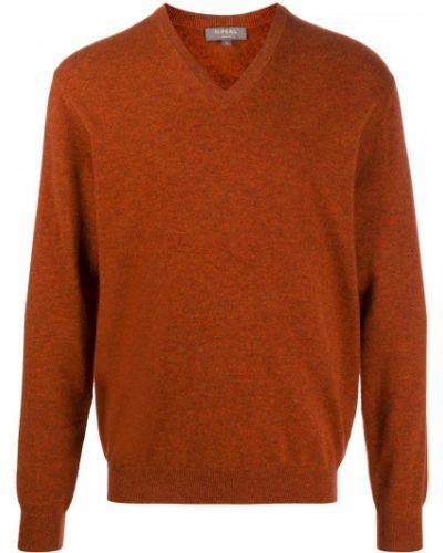 Кашемировый оранжевый свитер с V-образным вырезом в рубчик N.peal