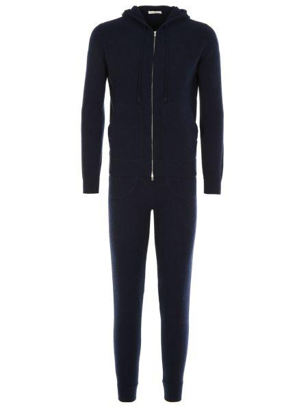 Синий костюмный кашемировый спортивный костюм с капюшоном Panicale