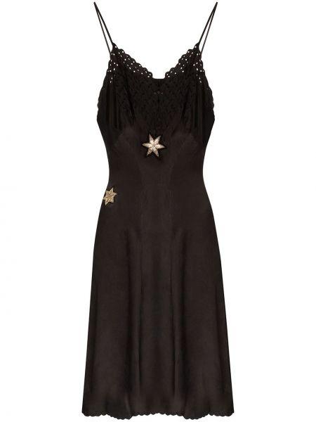 Тонкое платье с вышивкой на бретелях винтажное One Vintage