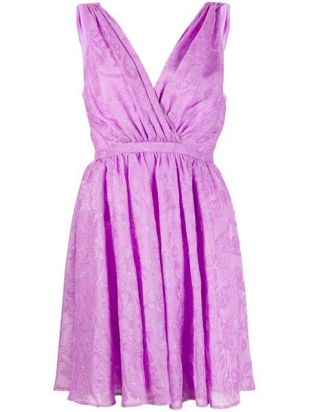 Fioletowa sukienka mini w kwiaty bez rękawów Pinko