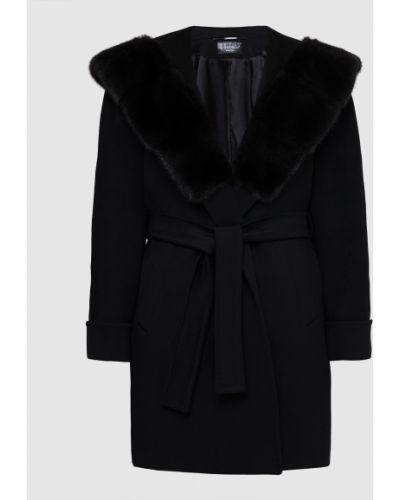 Шерстяное черное пальто с мехом Heresis