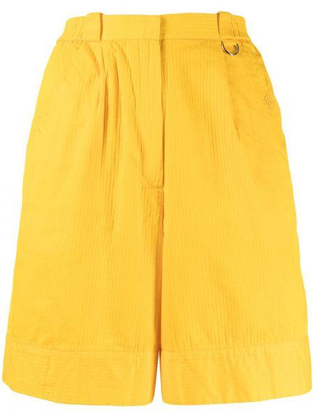 Żółte spodenki sportowe z wysokim stanem bawełniane Christian Dior