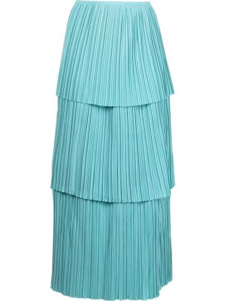 Синяя плиссированная юбка миди с оборками Bambah