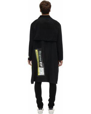 Czarny płaszcz wełniany klamry Tdt - Tourne De Transmission