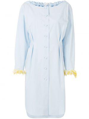 Синее платье с пайетками на пуговицах с вырезом Delpozo