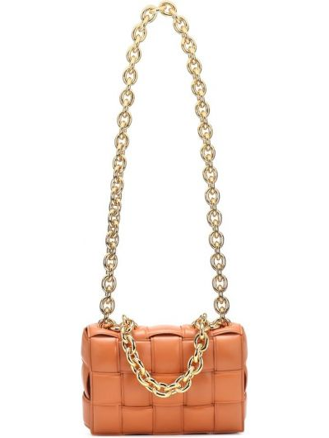Золотистая желтая сумка на цепочке из натуральной кожи Bottega Veneta