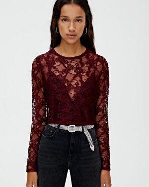 Блузка кружевная бордовый Pull&bear