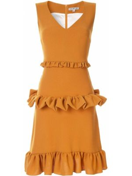 Желтое платье мини без рукавов на молнии из вискозы Edeline Lee