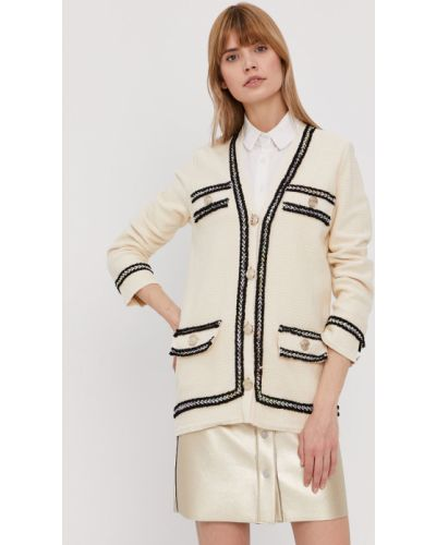 Beżowy długi sweter bawełniany zapinane na guziki Pinko