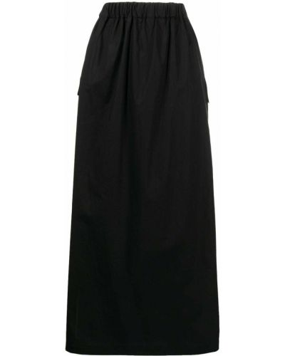 Расклешенная черная юбка миди с карманами Roberto Collina