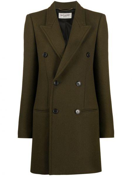 Зеленое длинное пальто двубортное на пуговицах Saint Laurent