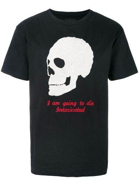 Хлопковая черная футболка с вышивкой Intoxicated