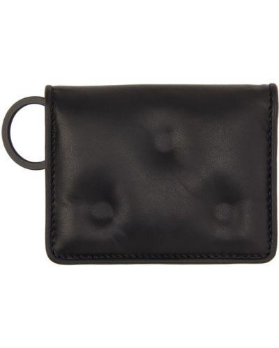 Skórzany czarny etui na klucze prążkowany z łatami Maison Margiela