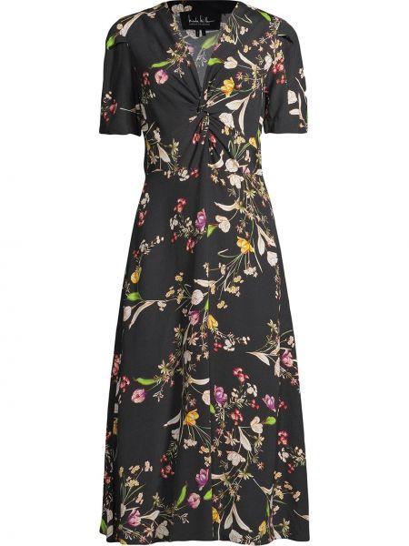 Платье миди с короткими рукавами - черное Nicole Miller