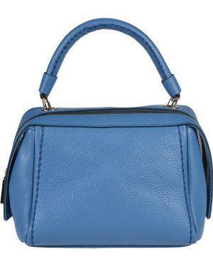 Кожаная сумка - голубая Plinio Visona'