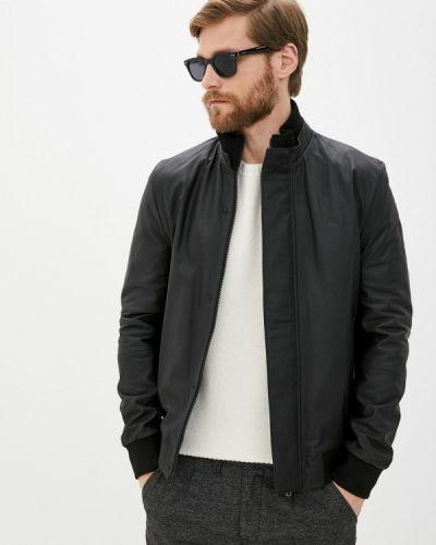 Кожаная куртка - черная Lacoste