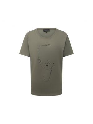 Хлопковая зеленая футболка с вышивкой Emporio Armani