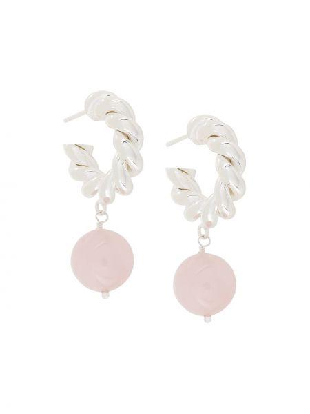 Różowe kolczyki sztyfty srebrne kwarc Isabel Lennse