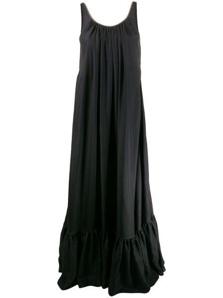 Свободное шелковое черное платье макси Brunello Cucinelli