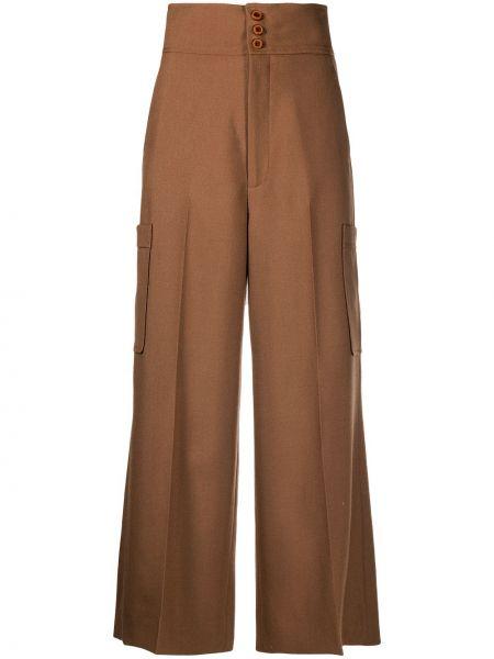 Wełniany spodni przycięte spodnie z kieszeniami bezpłatne cięcie Gucci