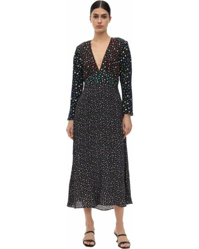 Czarna sukienka długa z długimi rękawami z kapturem Rixo