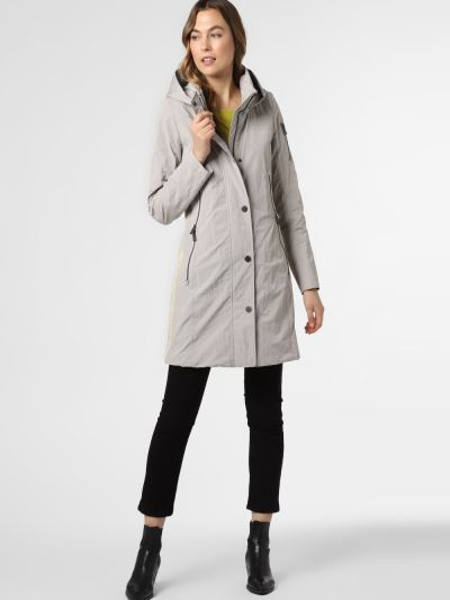 Beżowy płaszcz w paski Creenstone