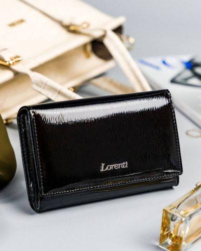 Czarny portfel lakierowany Lorenti