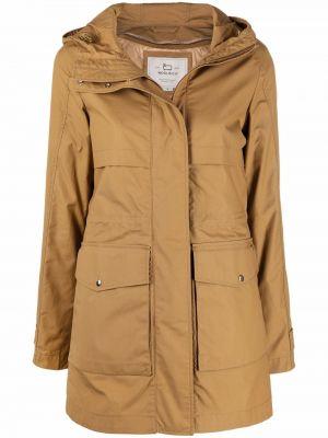 Пальто с капюшоном - коричневое Woolrich