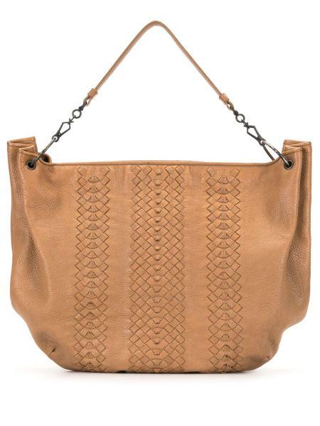 Кожаная коричневая сумка на плечо на молнии с карманами Bottega Veneta Pre-owned