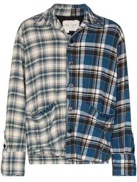 Niebieska klasyczna koszula bawełniana z długimi rękawami Greg Lauren