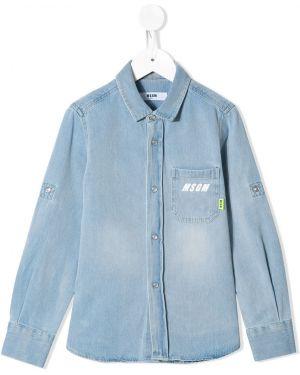 Синяя джинсовая рубашка Msgm Kids