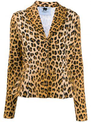 Коричневый удлиненный пиджак с баской на пуговицах Blumarine