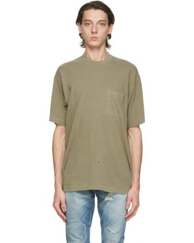 Зеленая трикотажная футболка с воротником John Elliott