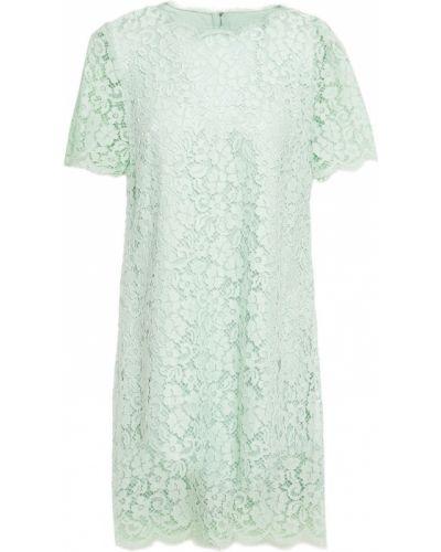 Хлопковое кружевное платье мини мятное Dolce & Gabbana