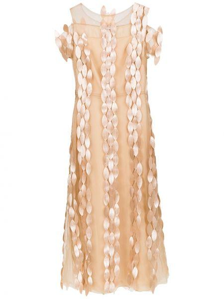 Светло-розовое с рукавами платье с подкладкой Gloria Coelho
