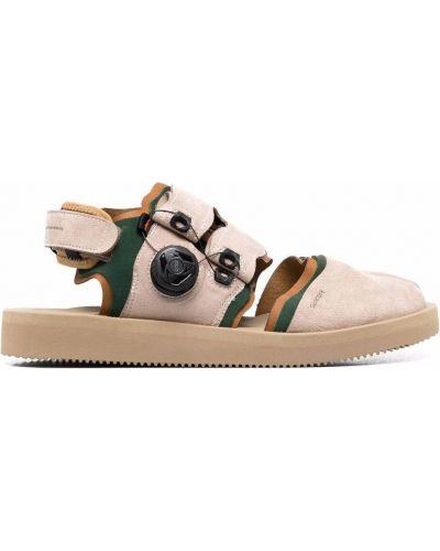 Beżowe sandały skorzane z printem Suicoke