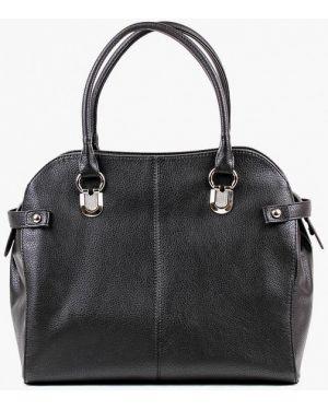 Кожаная сумка с ручками черная медведково