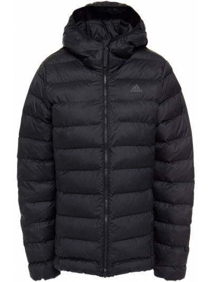 Черная текстильная стеганая куртка с капюшоном Adidas