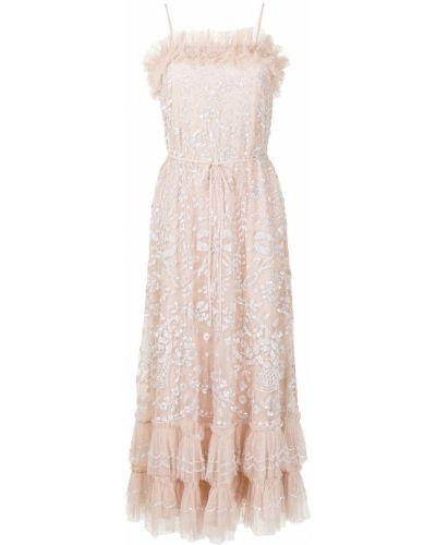 Розовое платье с оборками Needle & Thread