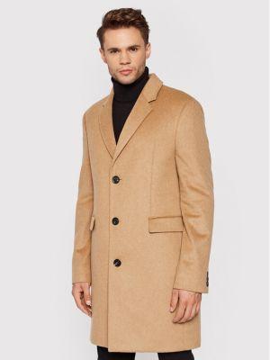 Płaszcz wełniany - brązowy Tommy Hilfiger