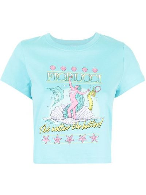 Niebieska T-shirt z nadrukiem z printem Fiorucci