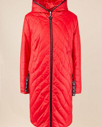 Прямое красное пальто с капюшоном Alyaska