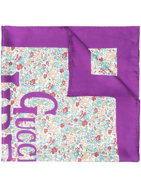 Fioletowy szalik z jedwabiu w kwiaty Gucci