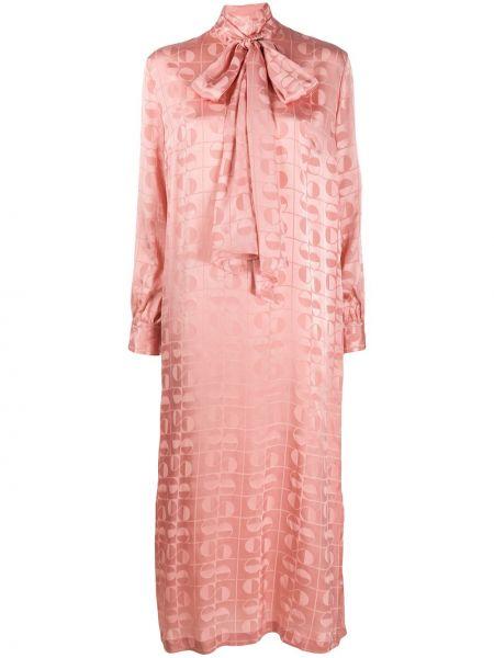 Шелковое розовое платье на пуговицах с воротником Ports 1961