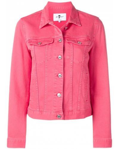 Розовая джинсовая куртка с манжетами на пуговицах 7 For All Mankind