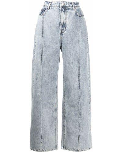 Niebieskie jeansy z paskiem Rokh