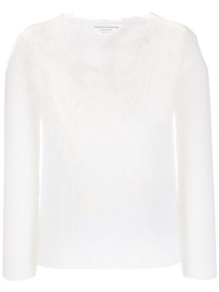 Ажурный белый кашемировый длинный свитер Ermanno Scervino