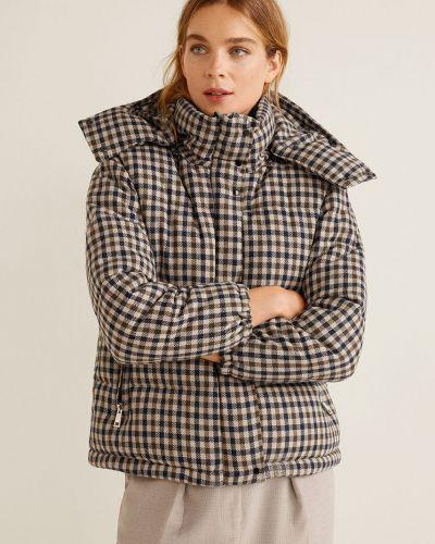Куртка с капюшоном стеганая в клетку Mango