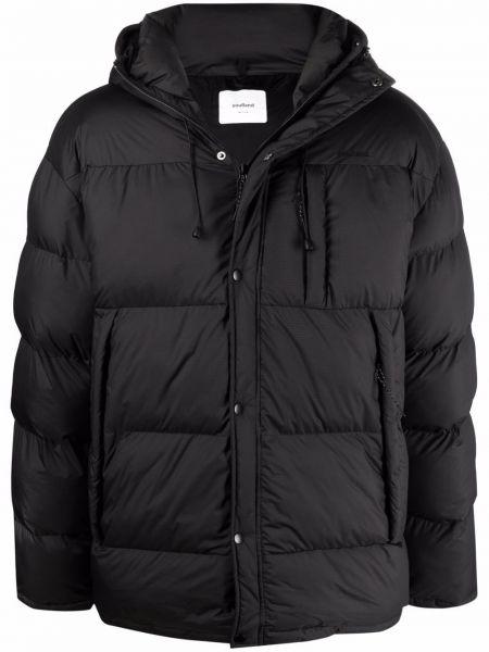 Czarny płaszcz z kapturem Soulland